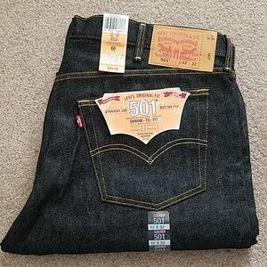 NWT Men's Levi's 501 Button-Fly Blue Jeans 42 x 32